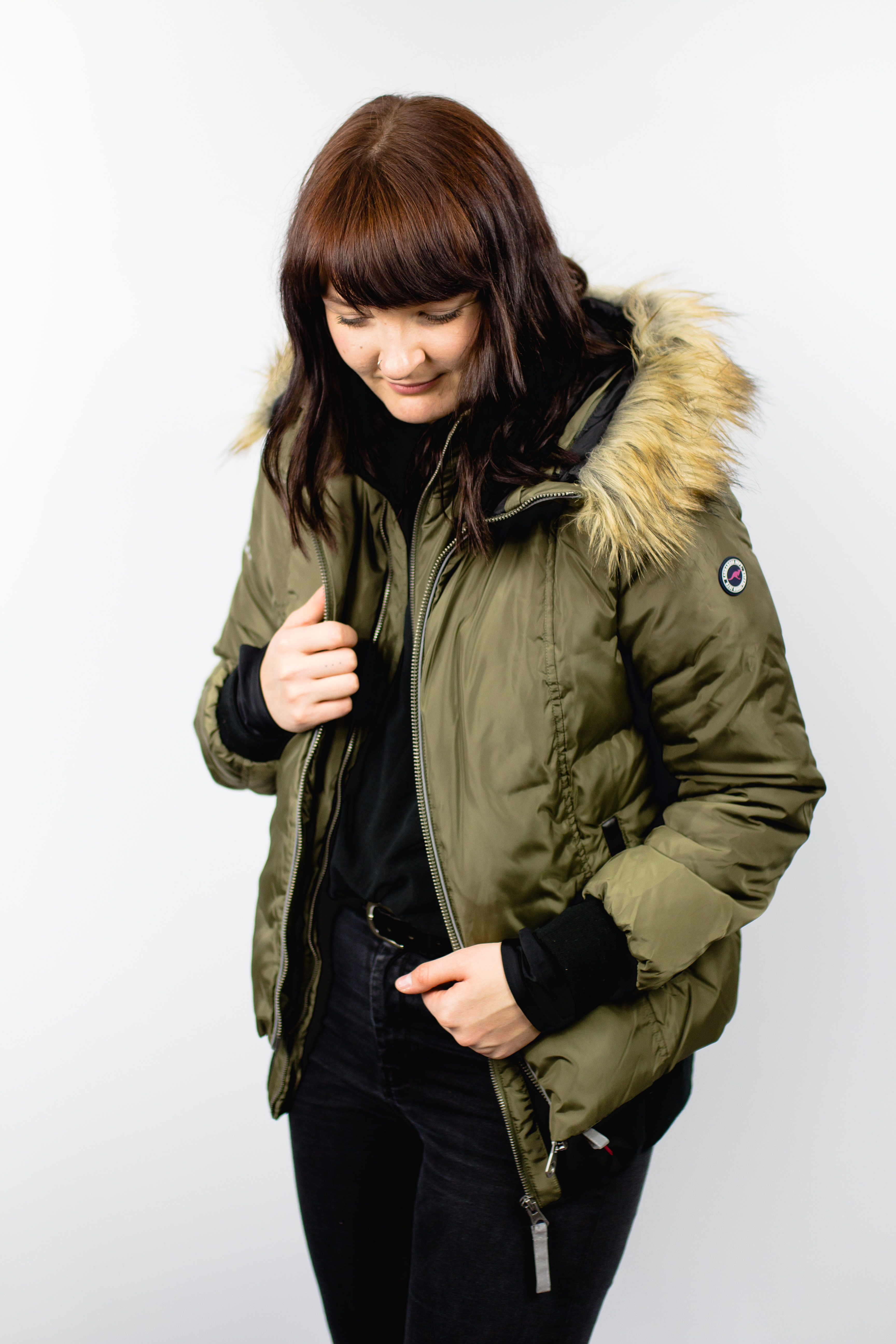 KangaROOS Damen Daunenjacke Daunen Jacke mit Kunstfell Kragen und Kapuze